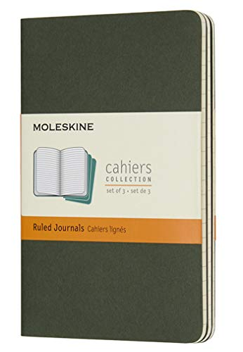 Moleskine Cahier Journal, Soft Cover, Pocket (3.5 x 5.5) Ruled/Lined, Myrtle Green (Set of 3)