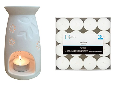 / Oil Warmer Tealight Bundle with 1 Ceramic Ceramic Diffuser and a Pack of 16 Unscented Tealight Candles; Candle Warmer Works Great as Tealight Warmer of Aroma Oils (Modern Art Oil Burner)