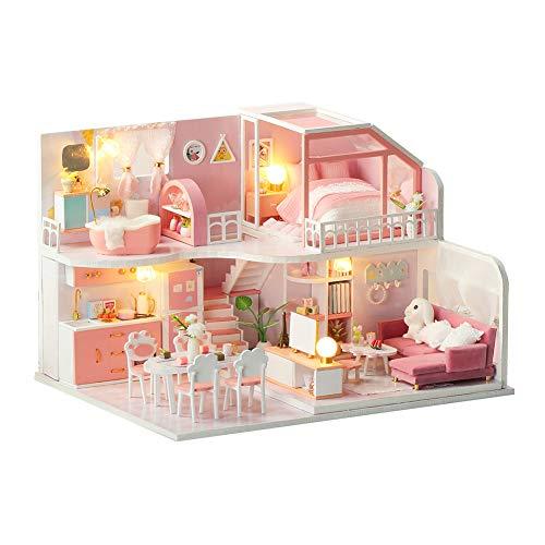 F&S 인형 집 미니어처 작은 가구 | DIY 미니 인형 집 키트 LED 및 먼지 증거 커버 | 1:24 규모 | 놀라운 생일 또는 크리스마스 날 선물