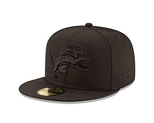 NFL Detroit Lions Men's Black On Black 59Fifty Fitted Cap, 7 3/8