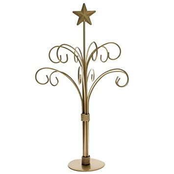 Gold Finish 12 Arm Ornament Tree Removable Top