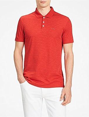 Calvin Klein Mens Slim Fit Striped Interlock Polo Shirt In Red