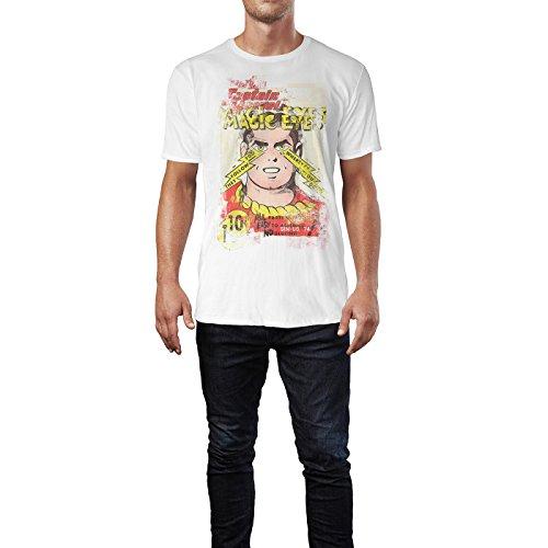 SINUS ART® Magic Eyes Herren T-Shirts stilvolles weißes Fun Shirt mit tollen Aufdruck