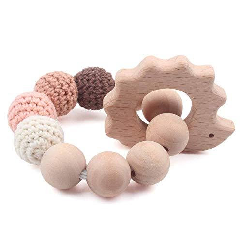 (Baby Teether Bracelet Toddler Teething Waldorf Maple Natural Wood Ring Chewing Beads Shower Gift, Hedgehog Orange Charms)