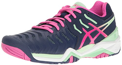 Asics WoMen Gel-Resolution 7 Tennis Shoe, White/Silver, 10 B US Indigo Blue/Pink Glow/Paradise Green