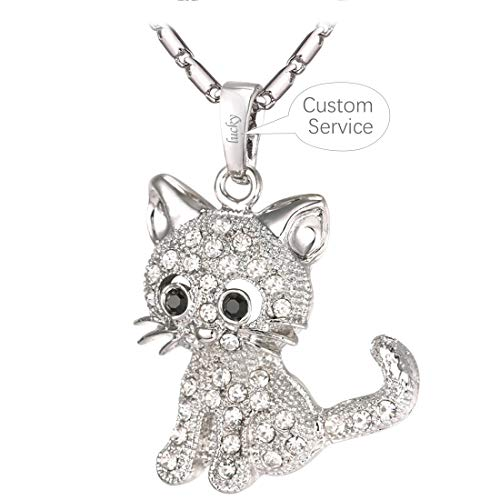 U7 Cat Jewelry Women Girls Link Fashion Platinum/18K Gold Plated Rhinestone Crystal Kitty Cat Pendant Necklace ((Hot) Necklace Platinum with Custom Service)