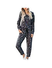 Women's 2 Piece Outfits Star Print Long Sleeve Sweatshirt and Pants Sweatsuits Set Cotton Tracksuits
