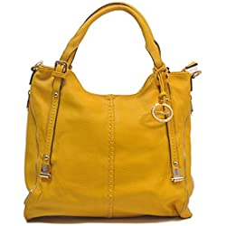 "SORRENTINO Sori Collection ""393"" Lucky Double ZipperTote Designer Inspired Handbag for Classy Women (Yellow)"