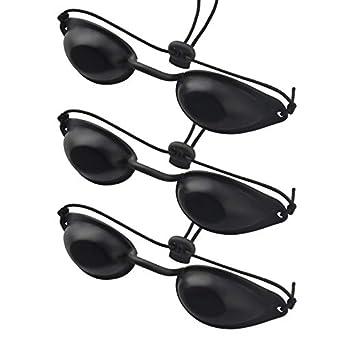 Gafas de bronceado de seguridad 3Sets IPL Eye Patch, gafas de bronceado UV, gafas de bronceado ajustables para la terapia de rayos infrarrojos UV IPL (negro)