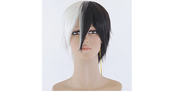 Amazon.com : Recto Corto Pelucas Cosplay Pelucas Sintéticas Del Pelo White And Black Color Rubia De La Cara Llena Peluca Cosplay Wig : Beauty