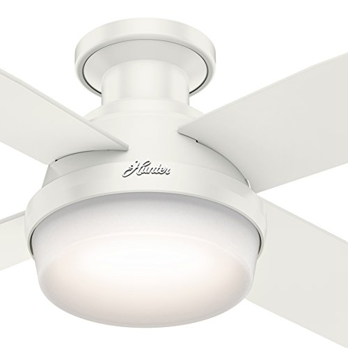 - Hunter Fan 52 inch Fresh White Finish Dimpsay Low Profile with Light Kit (Renewed)