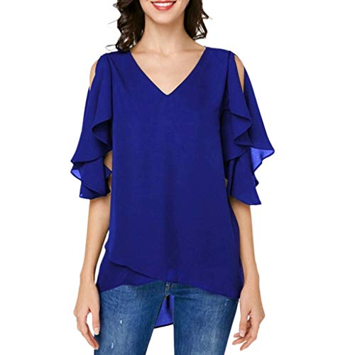 (Aunimeifly Women Solid Color Stapless Shirt Half Sleeve V Neck Plus Size Loose Ruffle Chiffon Blouse Tops Blue)