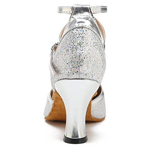 Jean Dance Mid Heel Party Mary Dance Glitter Shoes Cross Shoes Women's Criss Silver Honeystore Hq78PpCp