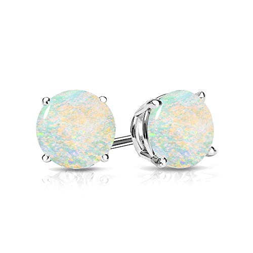 9mm Created Opal Stud Earrings in 14k White Gold (2.5 CT.TW.)