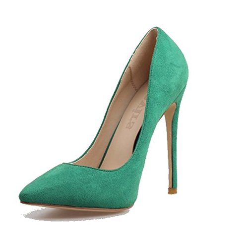 Pumper Joes Extreme High Heels Pointed Toe Stiletto Black Green Shoes Nude PU 11