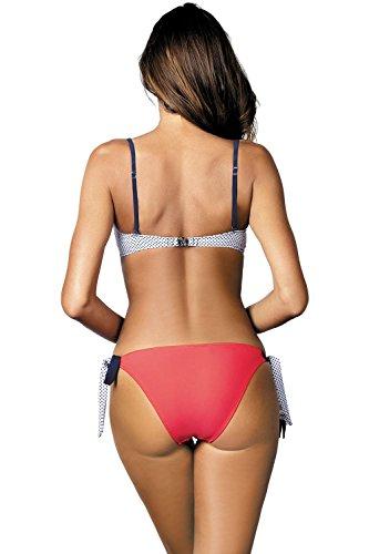 Marko Olivia M-419 Traje De Bano De Dos Piezas Bikini De Lunares Para Mujeres Relleno Push-Up Tirantes Extraíbles Con Aros - Hecho En La UE coral-blanco
