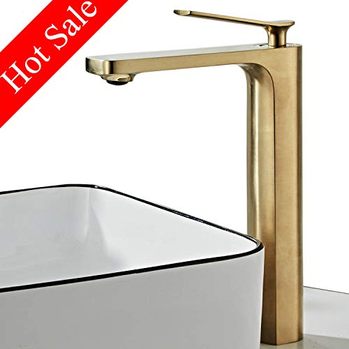 Contemporary Single Handle Tall Brushed Nickel Gold Bathroom Vessel Sink Faucet, Lavatory Faucet with Hoses