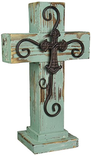 LL Home Standing Wood Cross, Blue