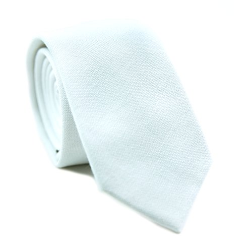 Cotton Tie Linen (DAZI Men's Skinny Tie, Cotton Wool Linen Necktie, Great for Weddings, Groom, Groomsmen, Missions, Dances, Gifts. (Chalk))