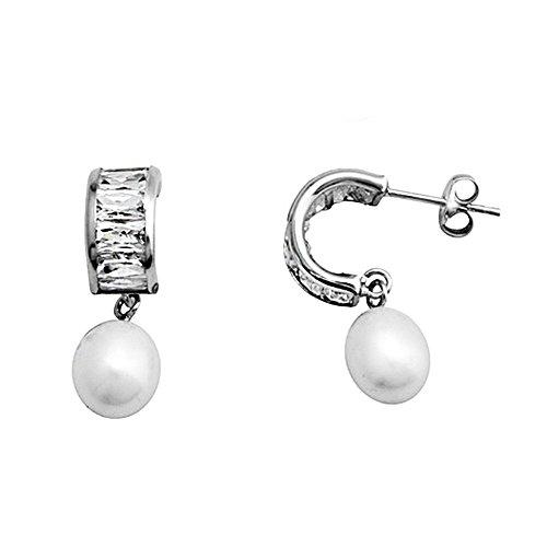 Boucled'oreille 18k or blanc perle de culture de longues zircons [AA5768]