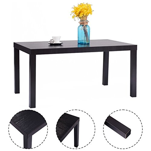 New Rectangular Wood Coffee End Table Modern Living Room Furniture Black Modern