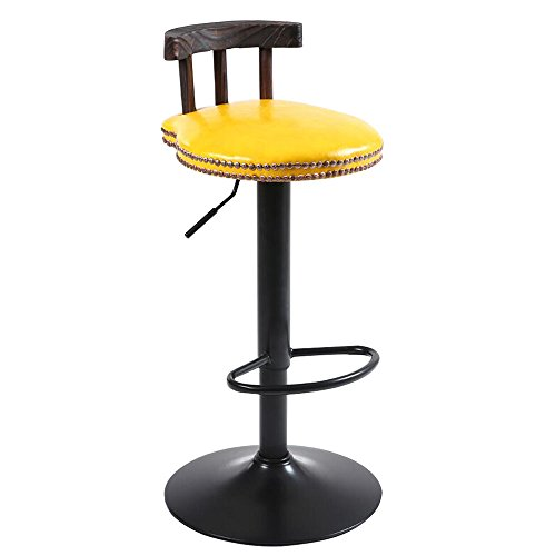 C-K-P Retro Bar Chair American Wood Bar Chair Lift Rotating Cafe Tables and Chairs High Stools Multi-Color PU Optional (Color : Yellow)