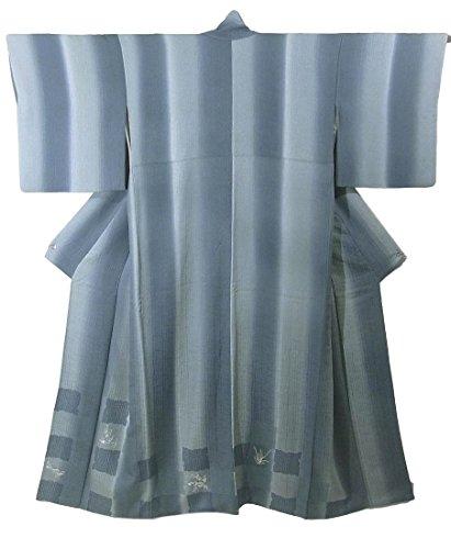 リサイクル 着物 訪問着 正絹 袷 縞と市松取りに花模様 刺繍 裄68cm 身丈161cm