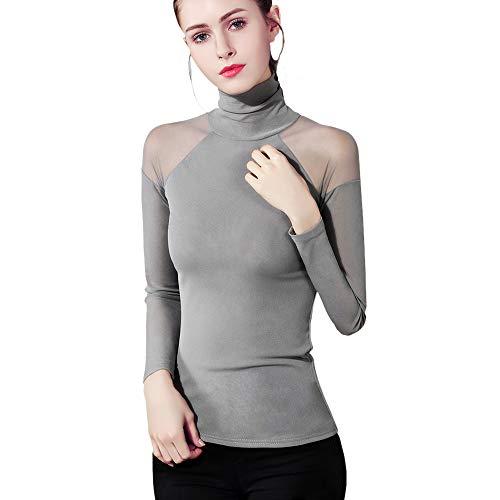 JosLove Bottoming Shirt Women Spring Autumn Gauze Turtleneck Full Sleeve Sexy Strapless Lace Top ()