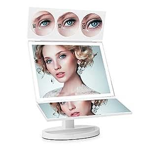 FASCINATE Espejo Maquillaje con Luz para Maquillaje,Triple Plegable 1X/3X/5X/10X Amplificador 44 LED con 360 Grado de Rotación Cosmético Espejo Maquillaje(Blanco)