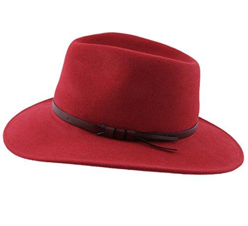 Classic Homme 11 Rouge Italy Large Chapeau Classique Colories Feutre Fedora Ou Femme rYTrn6Z