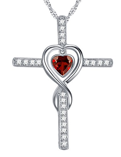 Red Cross Symbol - Love Infinity Cross Fine Jewelry Gifts for Women for Wife Red Garnet Necklace Birthday Anniversary Gifts for Her for Daughter Girlfriend Fiancee, Sterling Silver Swarovski 18