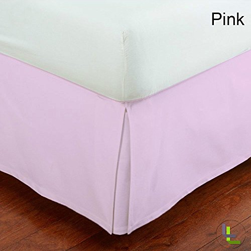 Floris Fashion Full XL 400TC 100% Egyptian Cotton Pink Solid Superb Finish 1PCs Box Pleated Bedskirt Solid (Drop Length: 28 inches)