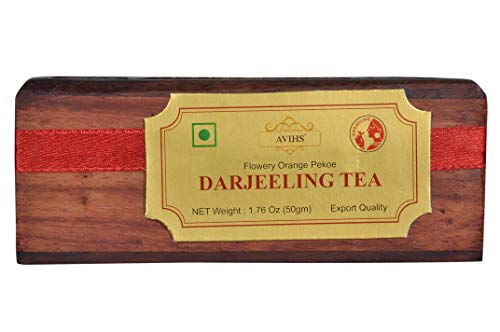 Darjeeling Tea 1.76 Oz (25 Cups), 100% Premium Natural Loose Tea Leaves, Anti-oxidants, Cleanse & Weight Loss, Detox Body, Top Verity Export Grade tea of India, Packed in Beautiful Wooden - Food Gifts Natural