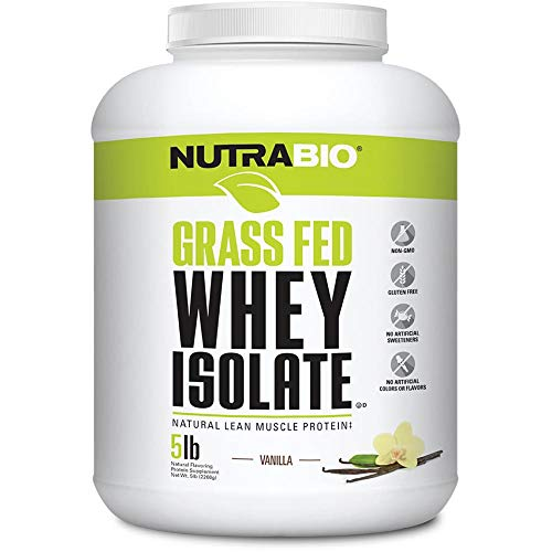 NutraBio Grass Fed Whey Isolate Vanilla, 5 Pounds