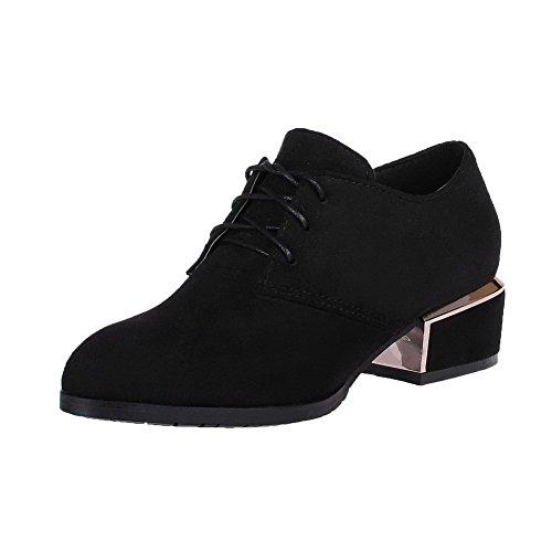 Bas Dépolissement Chaussures Couleur Femme Pointu Unie Lacet à Talon Légeres Noir AgooLar w4qtH1x