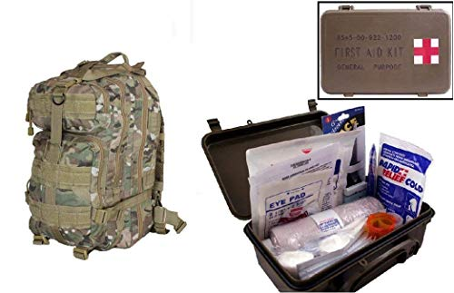 Ultimate Arms Gear Level 3 Assault MOLLE Taccam Camo Camouflage Backpack Kit + First Aid Trauma Kit General Purpose in Waterproof Carrying Storage Case, USA MADE, Fully Stocked 58-Piece Kit by Ultimate Arms Gear