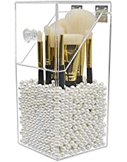 Makeup Brush Holder Organizer,Dolovemk Acrylic Organizers and Storager Dustproof Box,Acrylic Makeup Organizer with Lid,for Dressing Tables and Bathrooms with Pearl
