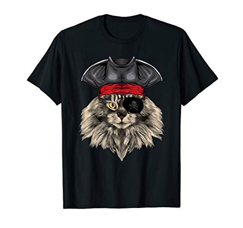 Cat Pirate Costume T-Shirt Maine Coon Cat -