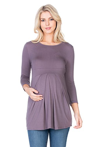 My Bump Women's 3/4 Slv Front Pleated Maternity Top(Made In USA) (Medium, D.Purple SD)
