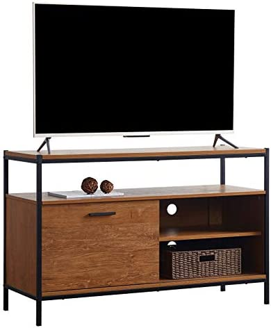 Caffoz 48 Sliding Barn Door TV Media Stand with Storage Shelves, Industrial Entertainment Center with Slide Door Cable Management Farmhouse Wood Look Accent Furniture, Oak Brown