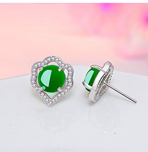 - s925 Silver Diamond Round Natural Agate Chalcedony Earrings earings Dangler Eardrop Emerald Women Girls Models Hypoallergenic Emerald