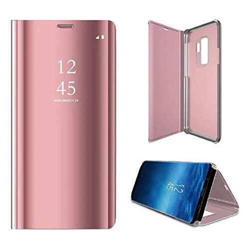 Samsung Galaxy S9/S9 Plus, Slim Clear Mirror Plating PC Full Body Protective Case flip Cover with Kickstand (S9 5.8, Rose Gold)
