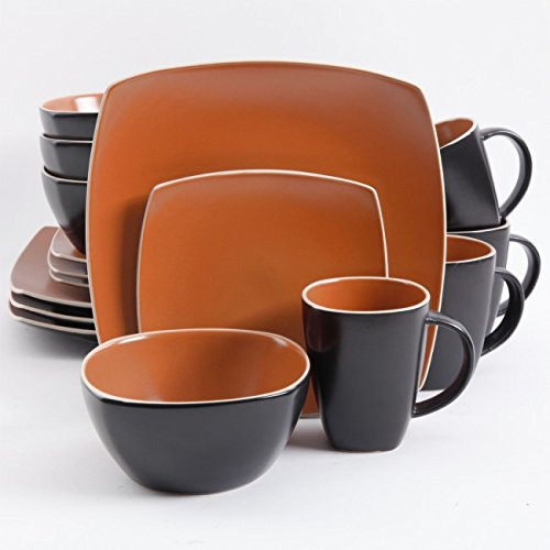 Gibson Soho Lounge Brick Red/Matte Stoneware 16-piece Dinnerware Set (Service for 4)