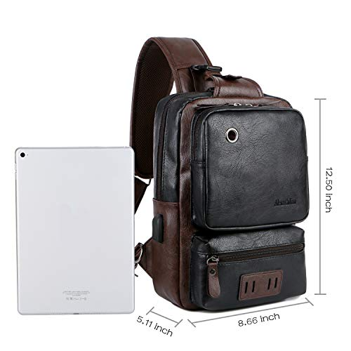 Large Capacity Crossbody Bag for Men Leather Sling Bag with USB Charge Headphone Hole BLACK