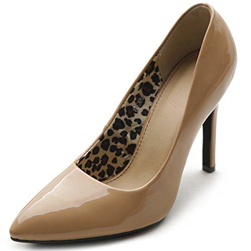 Ollio Women's Shoes Elegant Inside Leopard Print D'Orsay Dress High Heels Multi Colors Pumps ZM9006(8 B(M) US, Blush)
