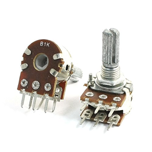 Uxcell a14040700ux0063 2 Piece B1K 1K Ohm 13 mm Shaft Single Linear Rotary Dual Potentiometer, 0.71