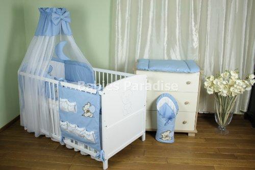 Baby Bettwäsche Set mit Applikation (Bär Ballon) (9 tlg, Blau)