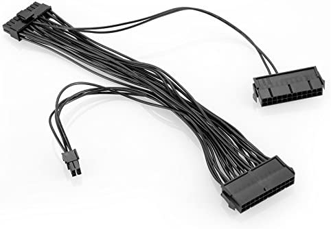 24PIN 20+4 PSU Dual ATX Mainboard Power Cable 30cm Power Supply Splitter Adapter