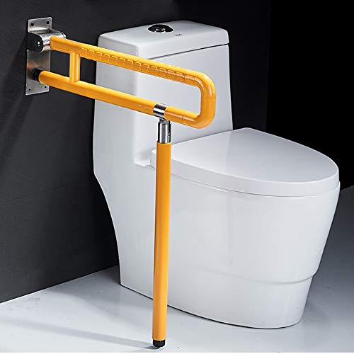 Foldable Toilet Grab Bar 304 Stainless Steel Medical Safety Shower Handrails Anti Slip Bathroom Seat Support Bar Flip-Up Bathtub Grab Arm Bar Hand Grips for Disabled Elderly Handicap Pregnant(Yellow)