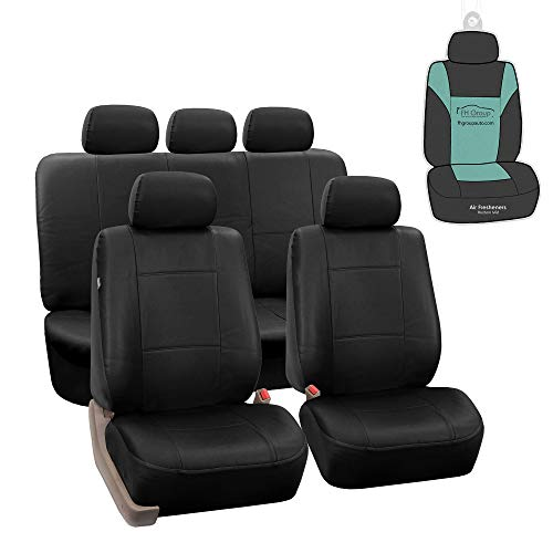 FH Group PU002115 Premium PU Leather Seat Covers (Black) Full Set with Gift - Universal Fit for Cars Trucks and SUVs